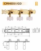 Čivije za klasičnu gitaru set CMH0351/GD